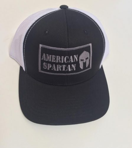Black and White American Spartan Trucker Hat